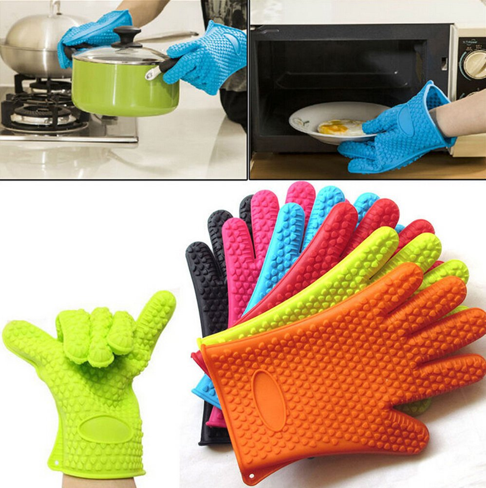 Silicone Kitchen Gloves Extreme Heat Resistant Grill Gloves Premium Insulated & Silicone Lined Aramid Fiber Mitts for Cooking, Baking, BBQ, Barbecue, Oven,Grilling- Heat Resistant Oven Mitts (Black)