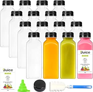 16pcs 12oz Empty Plastic Juice Bottles with Caps, Reusable Clear Bulk Beverage Containers, Black Tamper Evident Caps, for Juice, Milk and Other Beverages