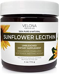 Liquid Sunflower Lecithin by Velona - 4 oz   Food Grade   Unbleached   Emulsifier, Stabilizer, Softener, Smoother, Wetting Agent   Use Today - Enjoy Results