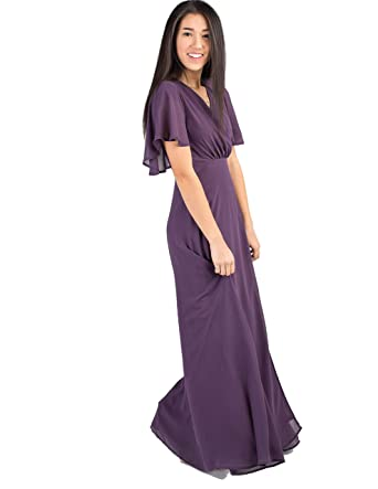 dea40fc4f1680 A Nursing Friendly Bridesmaid Wrap Maxi Dress with Flutter Short Sleeves,  and Tie Belt. Plum at Amazon Women's Clothing store: