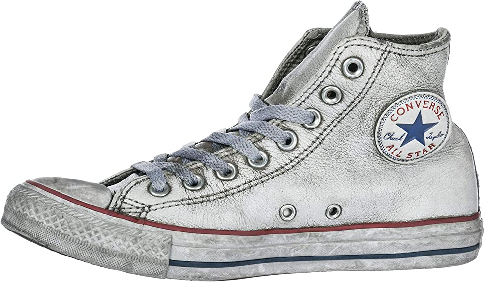 Converse All Star Limited Edition cuir blanc, homme femme, Homme, 158576C, gris, 9