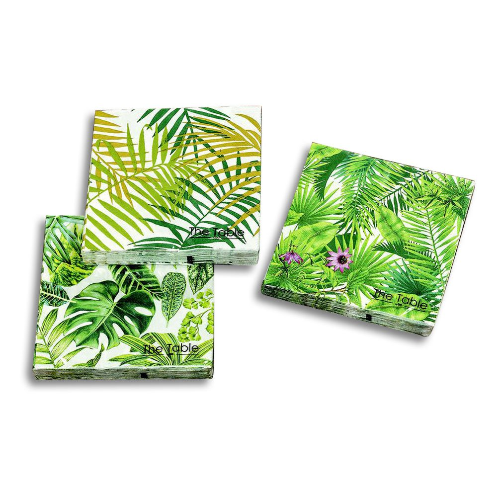 The Palm Leaf Napkins, 3 Packs of 20, 2 Ply Paper, Luncheon Size 6 3/4 x 6 3/4 Inches, 3 Vibrant Patterns: Palms and Leaves, Palm Fronds and Green Leaf and Purple Blossoms, The Table, By WHW
