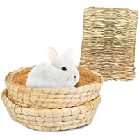 Bunny Grass Mat Bed 3-Pcs,Rabbit Digging Natural Woven Straw Mats Bedding,Guinea Pig Timothy Hay Resting Basket,Pet Cage…