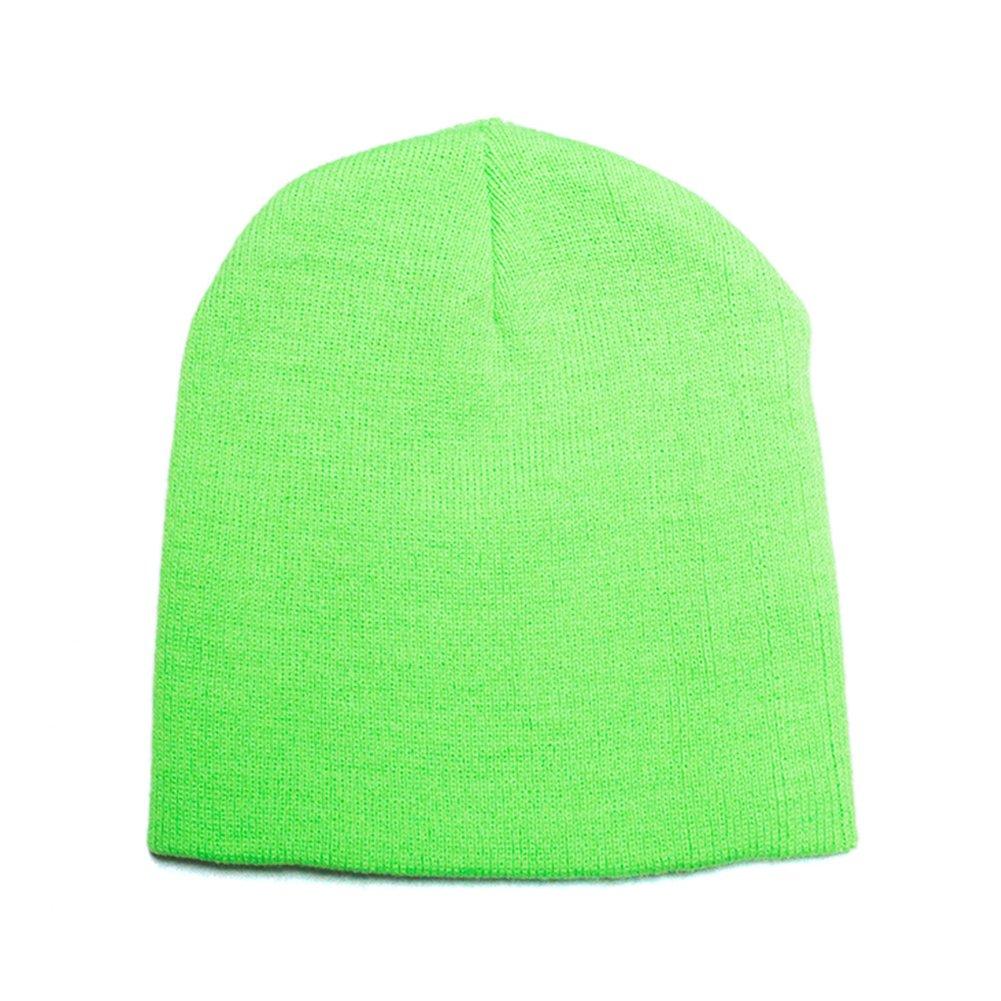 Opromo Hi-Viz, High Visibility Reflective Knit Short Acrylic Beanies Winter Hat-NeonGreen-96piece