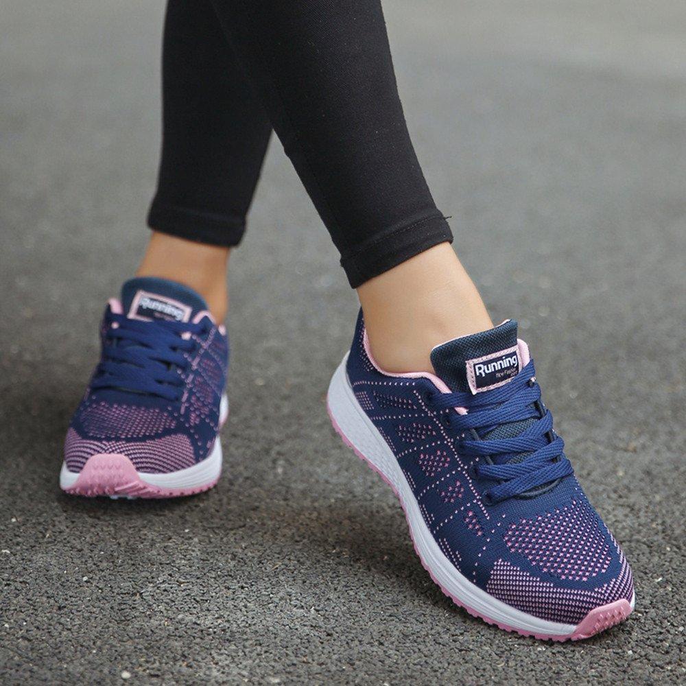 Zapatillas de Correr Mujer,YiYLunneo Women Fashion Sneakers Zapatillas Deportivas Correr Senderismo Fondo Grueso Shoes Antideslizante Zapatos