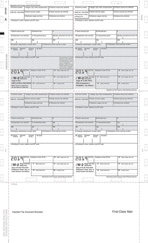 5224 2019 Model Legal 14/″ EZ Fold 500ct Pressure Seal Tax Form W-2