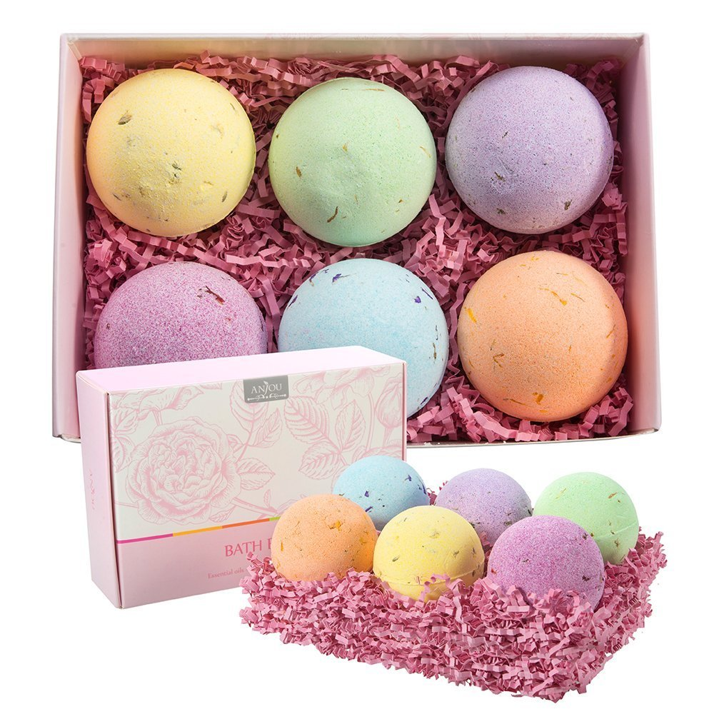 Anjou Bath Bombs Gift Set, 6 x 4.0 oz Vegan Natural Essential Oils & Dry Flowers, lush Fizzy Spa Moisturizes Dry Skin, Bubble Baths, Best Gift Kit Ideas for Girlfriends, Women, Moms AJ-PC005