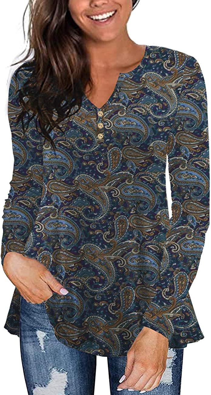 Tralilbee Women's Plus Size Long Sleeve Flowy Henley Shirt V Neck Tunic Tops