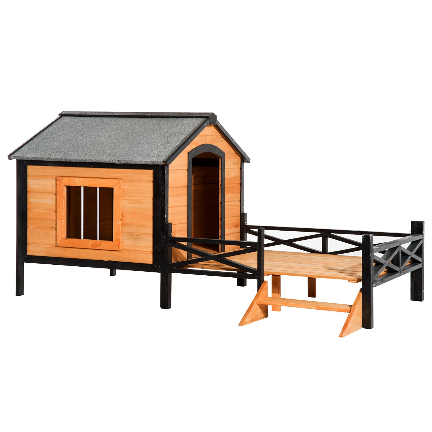 PawHut 67'' Large Wooden Cabin Style Elevated Outdoor Dog House with Porch