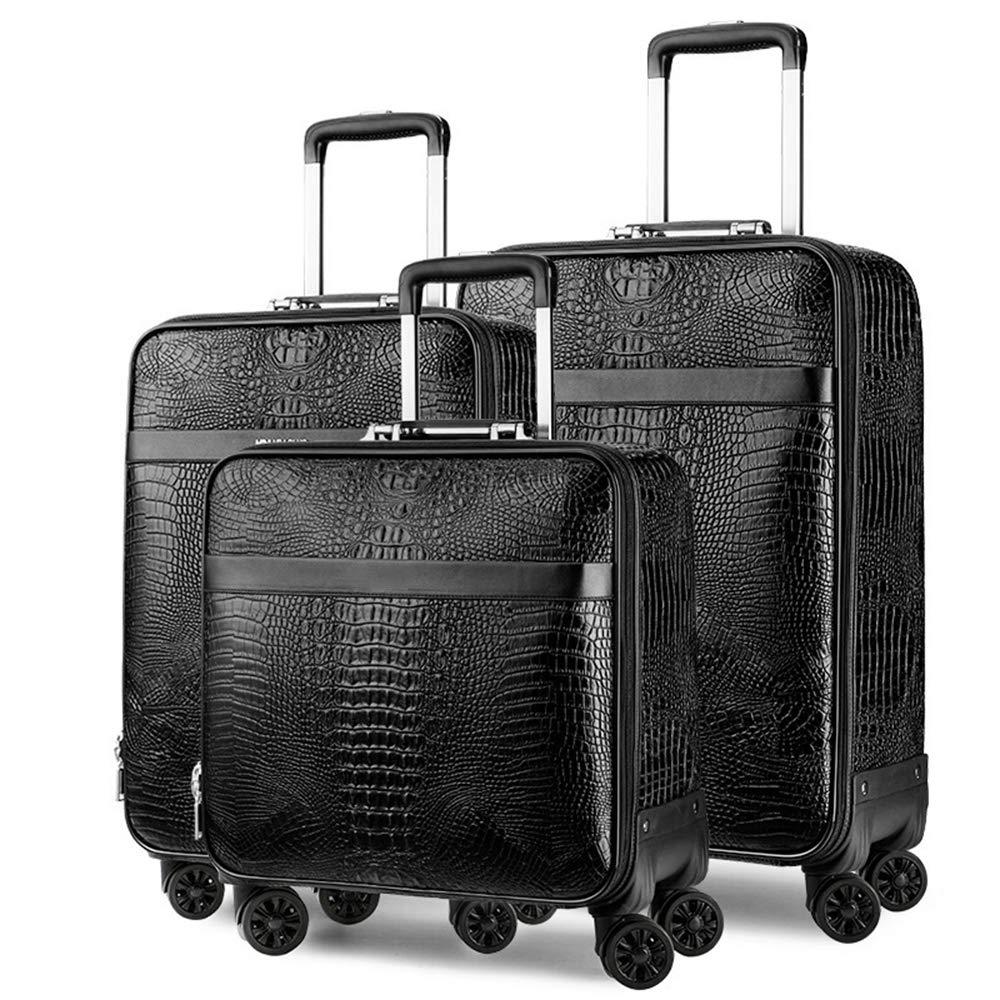 荷物スーツケース、ワニ用合成皮革スーツケース、16インチ、20インチ、24インチの3ピースビジネストラベルスーツケース、短期間のキャビンチェックイン用トロリーに適しています B07SZGHLZP