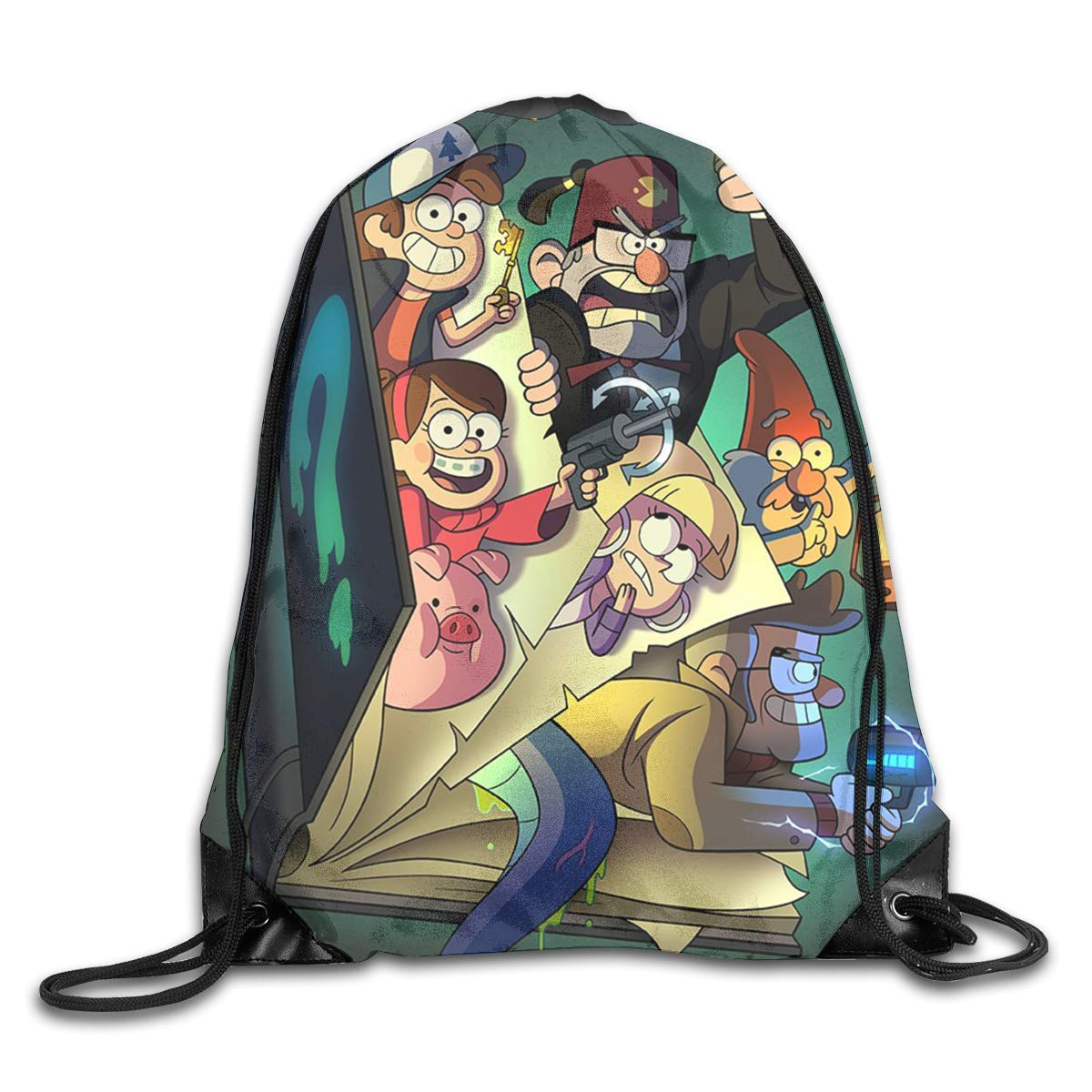 9f5f6ae9543c Amazon.com  CNJELLAW G-Gravity Fall-s Book Crazy Drawstring Backpack String  Bags Sports Polyester Shoulder Bag  Home   Kitchen