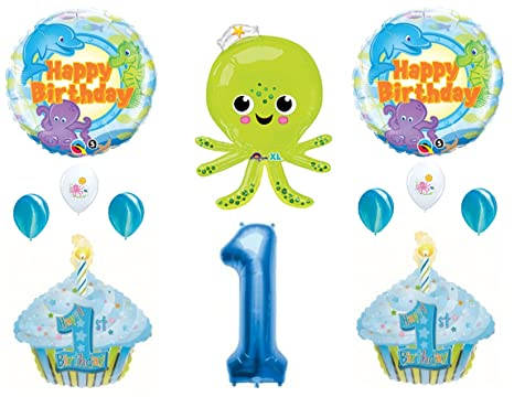 Amazon Com Under The Sea Octopus Dolphin 1st Birthday Party