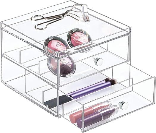 InterDesign Drawers Caja para guardar gafas | Caja organizadora apilable para gafas, gafas de lectura y gafas de sol | Caja para gafas con 2 cajones | Plástico transparente: Amazon.es: Hogar