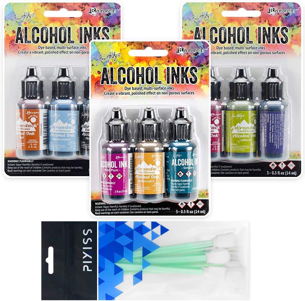 Ranger Tim Holtz Alcohol Inks Bundle 2, Farmers Market, Miners Lantern, Nature Walk, 8X Pixiss Ink Blending Tools