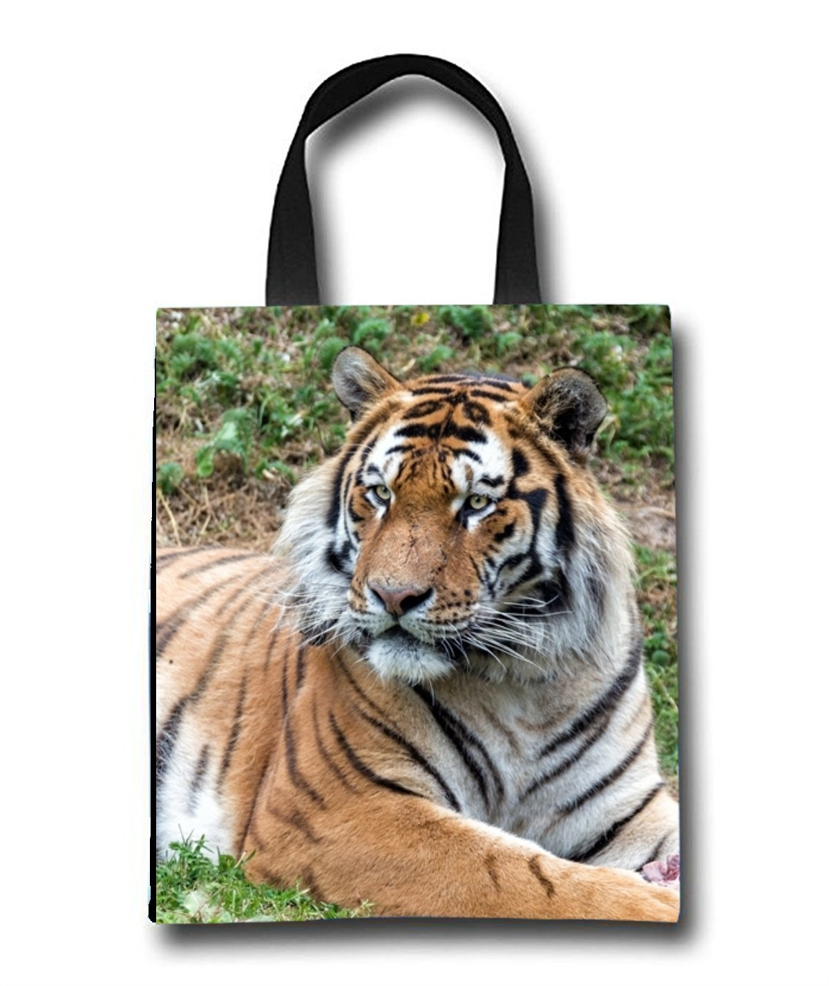 Lying Tiger Beach Tote Bag - Toy Tote Bag - Large Lightweight Market, Grocery & Picnic