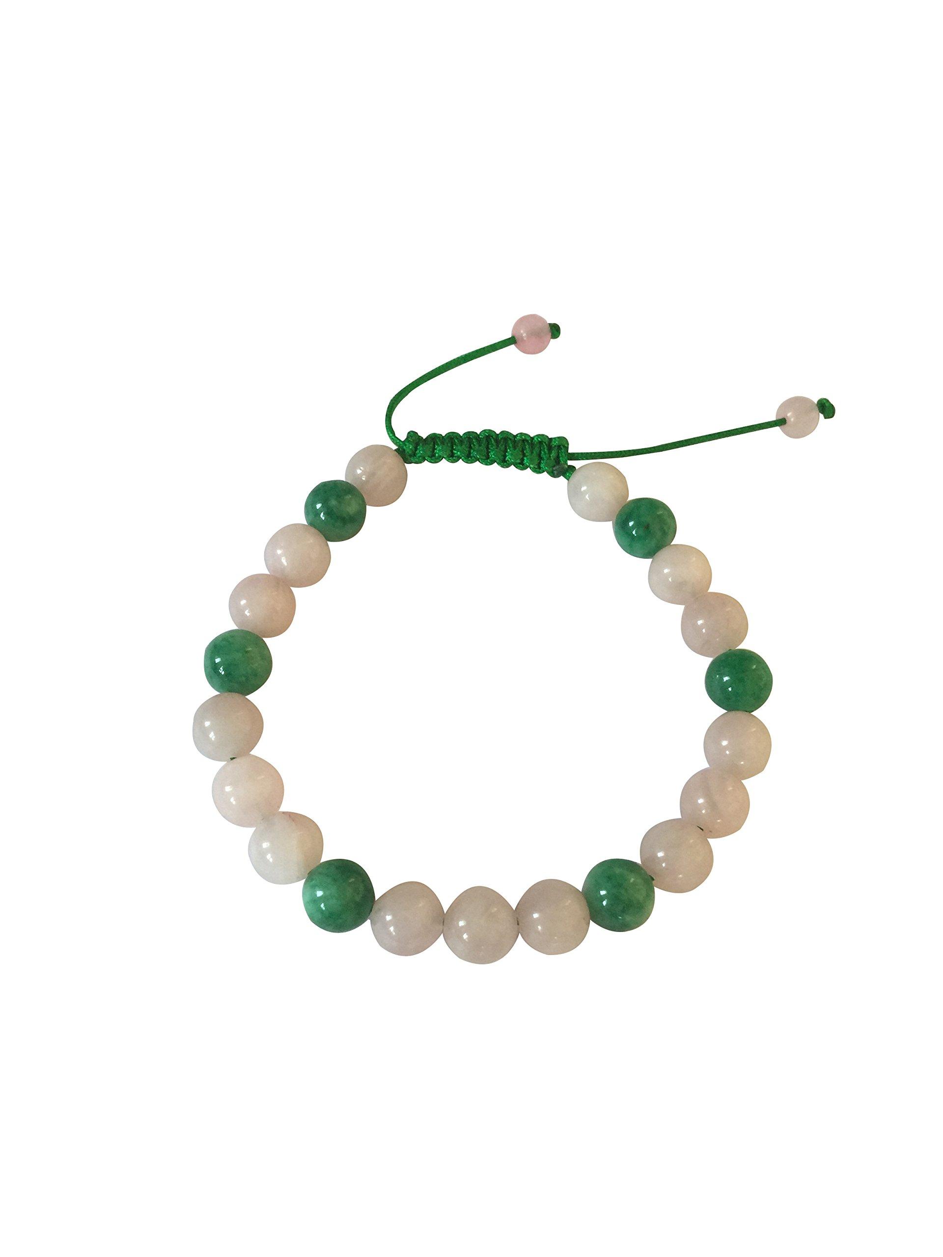 Tibetan Mala Rose Quartz and Green Jade Agate Wrist Mala Yoga Bracelet for Meditation