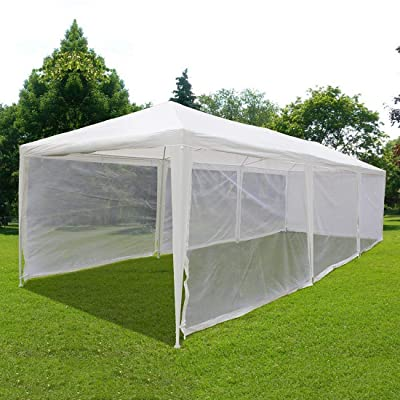 Outdoor Canopy Gazebo Party Wedding Tent Screen House Sun Shade Shelter with Fully Enclosed Mesh Side Wall (10'x30', White): Sports & Outdoors