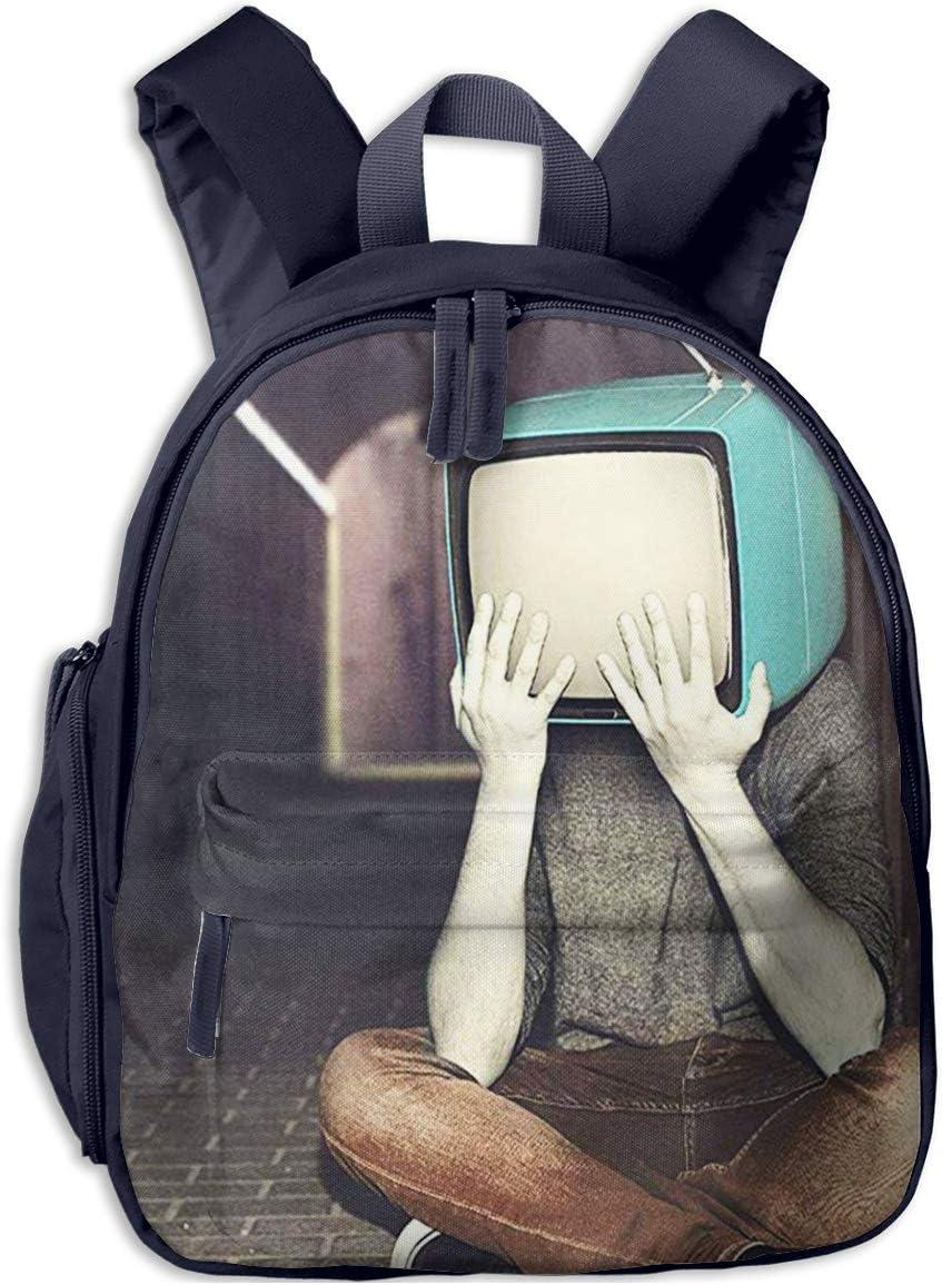 Mochila para Niños Art TV Head Man Retro, Mochila Escuela Primaria de Edad Peso Ligero Pérdida Mochila de Viaje para Chico Chica
