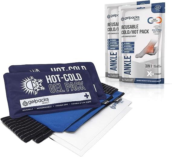GelpacksDirect - Paquete de gel reutilizable caliente frío con envoltura de compresión para tobillo - Paquete doble: Amazon.es: Salud y cuidado personal
