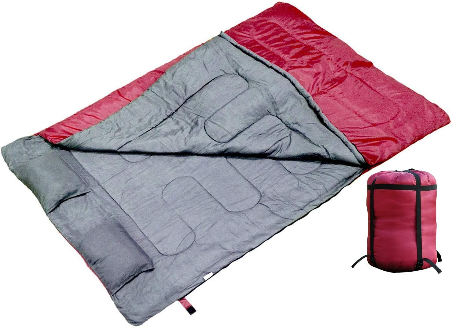 Tenive Double 2 Person Camping Hiking Double Wide Sleeping Bag with 2 Removable Pillows and a Carrying Bag
