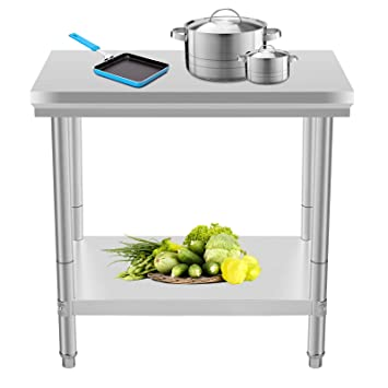 Moracle Mesa de Trabajo de Cocina Profesional 60x90x80cm Mesas de ...