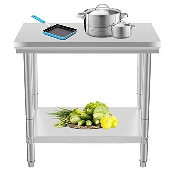 Moracle Mesa de Trabajo de Cocina Profesional 60x90x80cm Mesas de Cocina de Acero Inoxidable Tabla Mesa para Cocina Bar Restaurante Escuela ...