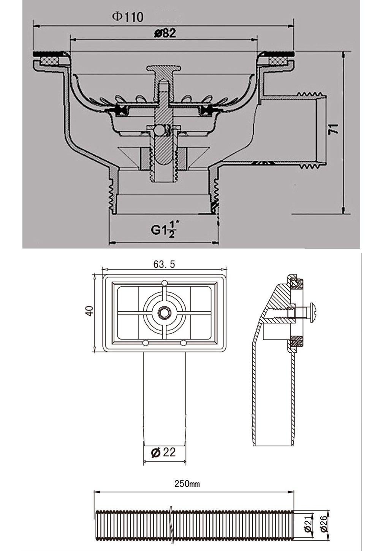 ABS Acero inoxidable Residuos cesta colador y cuadrado tubo de desag/üe Valvula Fregadero 110 1 1//2 Cesta Honda