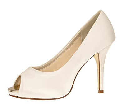 Jerney Pumps Club Heels Ivory High Rainbow Toe Satin Brautschuhe Peep TFKc3ul1J