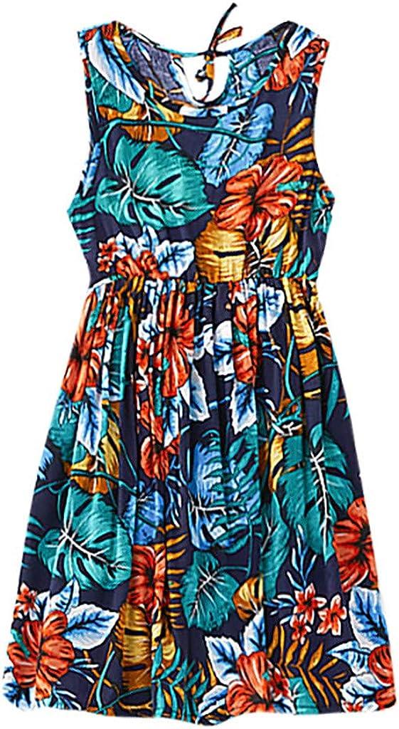 Moneycom - Vestido de Mujer sin Mangas, diseño Floral, Ideal para ...