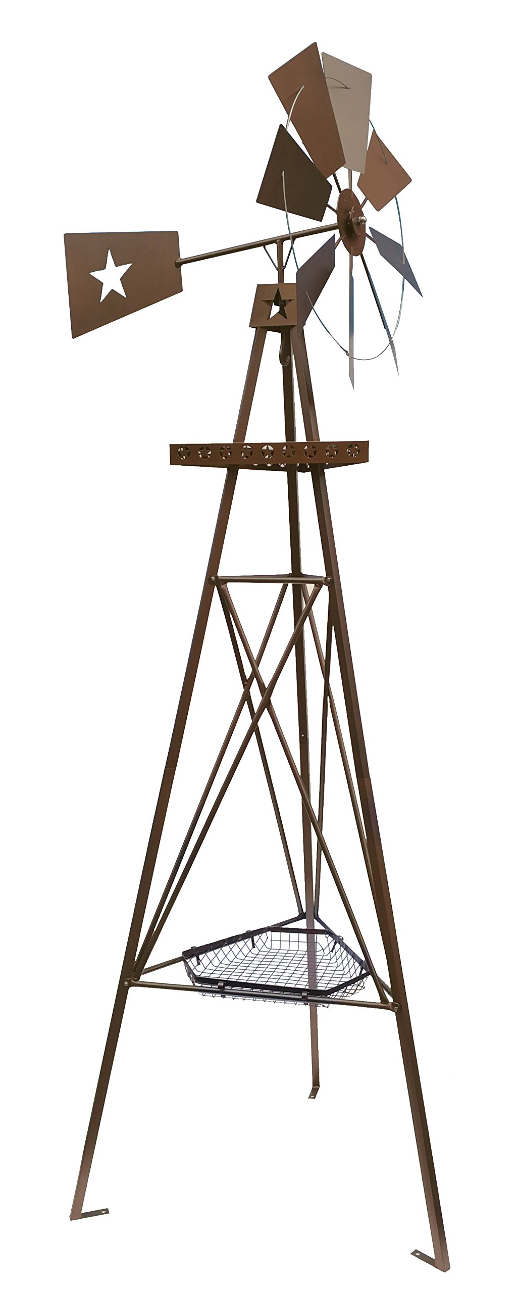 Leigh Country TX 93479 Nine Ft. Windmill with Planter Basket and Hook, Brown