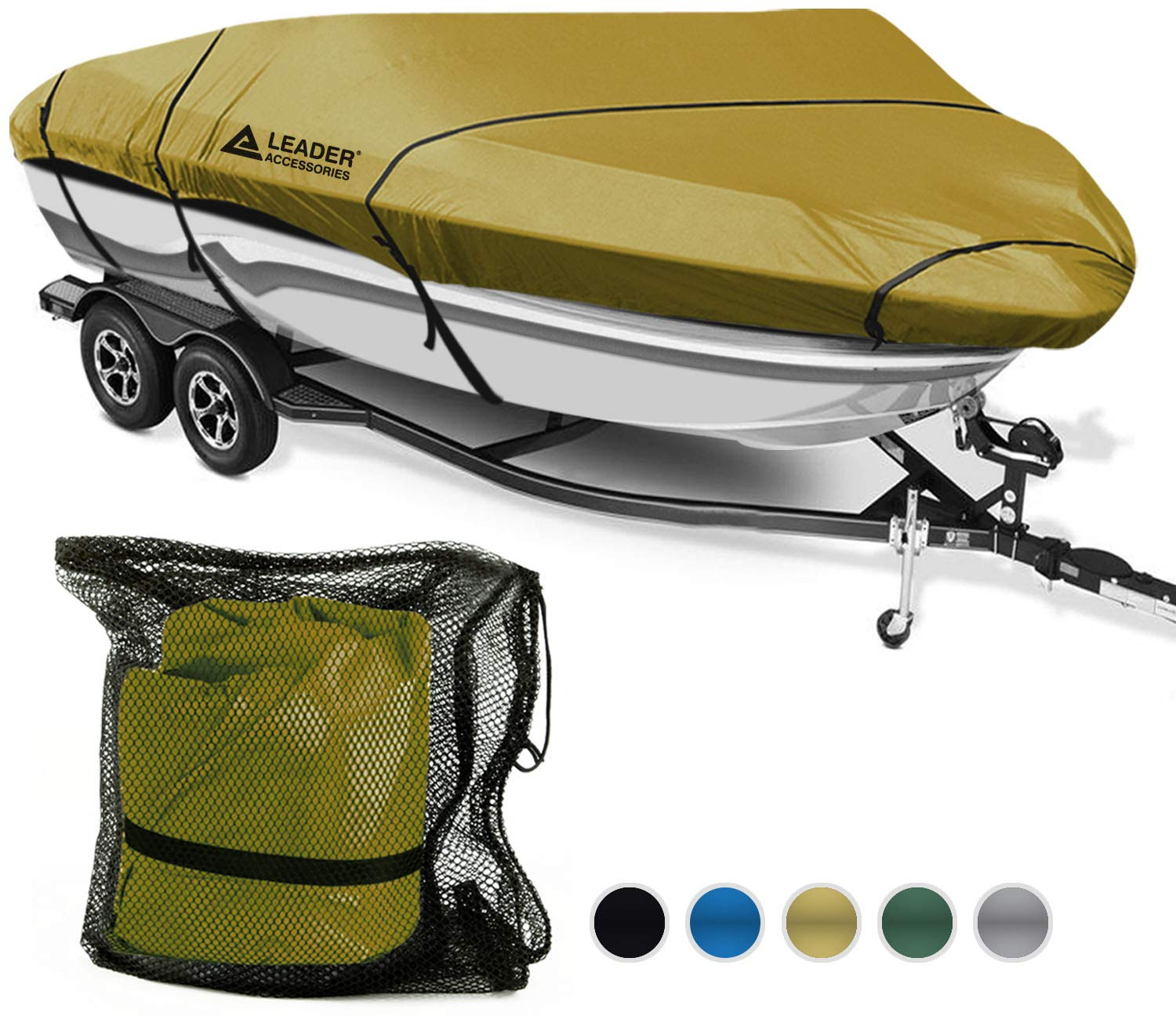 Leader Accessories 600D Polyester 5 Colors Waterproof Trailerable Runabout Boat Cover Fit V-Hull Tri-Hull Fishing Ski Pro-Style Bass Boats, Full Size (Tan, Model D: 17'-19'L Beam Width up to 96'') by Leader Accessories