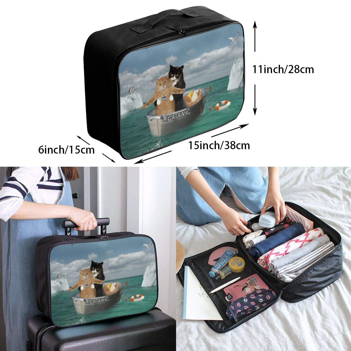 Funny Catanic Cats Titanic Cosplay Travel Lightweight Waterproof Folding Storage Portable Luggage Duffle Tote Bag Large Capacity In Trolley Handle Bags 6x11x15 Inch
