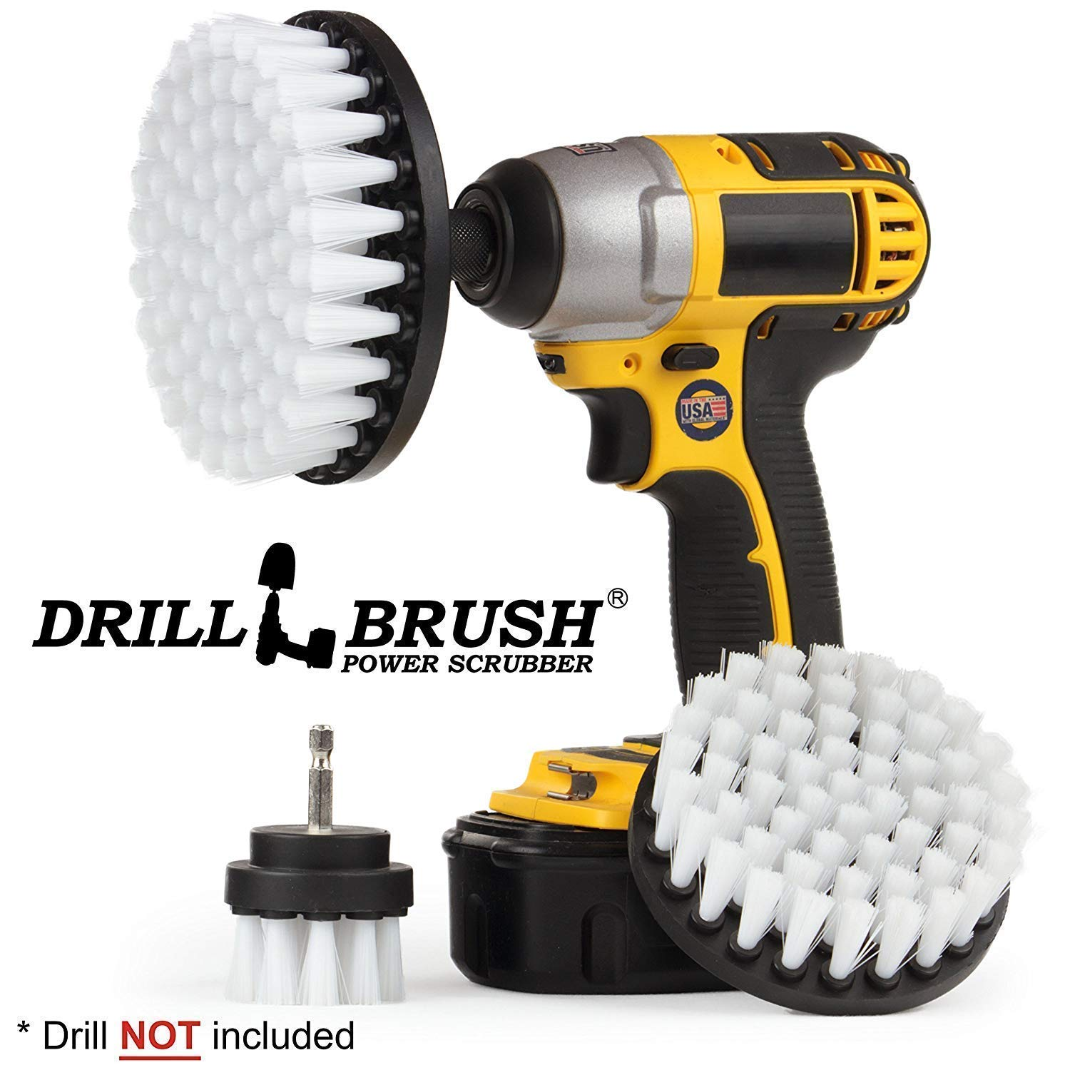 Cleaning Supplies - Drill Brush - Outdoor Power Scrub Brush Kit - Bird Bath - Garden Statues - Gnome - Outdoor Water Fountain - Monuments - Headstones - Granite Cleaner - Deck Brush - Algae, Mold Drillbrush R-S-542-QC-DB