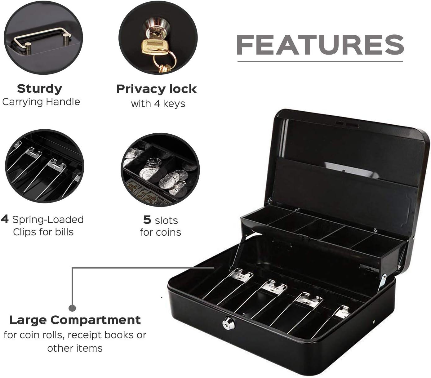 Metal Storage Cash Box Password Lock Privacy Receipts Checks Cases Black