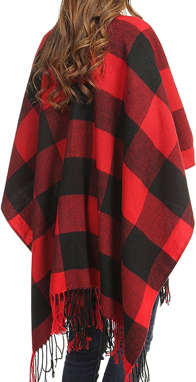 BUFFALO CHECK FRINGED LARGE PLAID DESIGN COZY BOLERO Women Plaid Blanket Winter