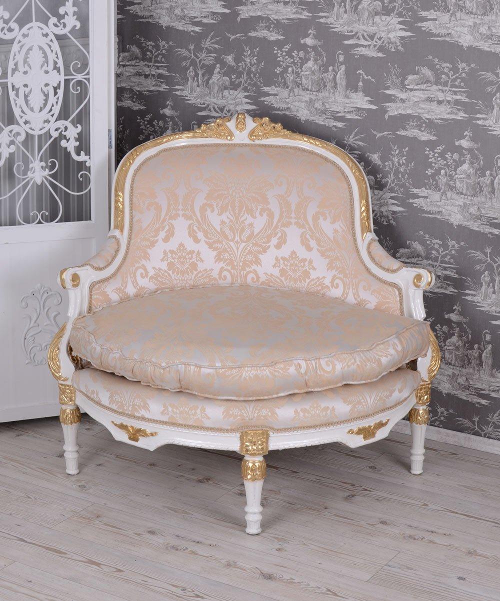 Barock Sessel Kanapee Ecksessel Barocksessel Weiss Vintage Sofa