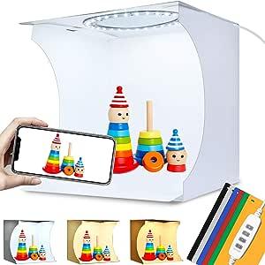Caja de Estudio Fotográfico 23x23x24 cm Kit Cabina de Fotografia Portátil con Ajustable Luz Blanca/Luz Suave/Luz Cálida, 64 Piezas LED Brillo Ajustable, 6 Colores de Fondo: Amazon.es: Electrónica