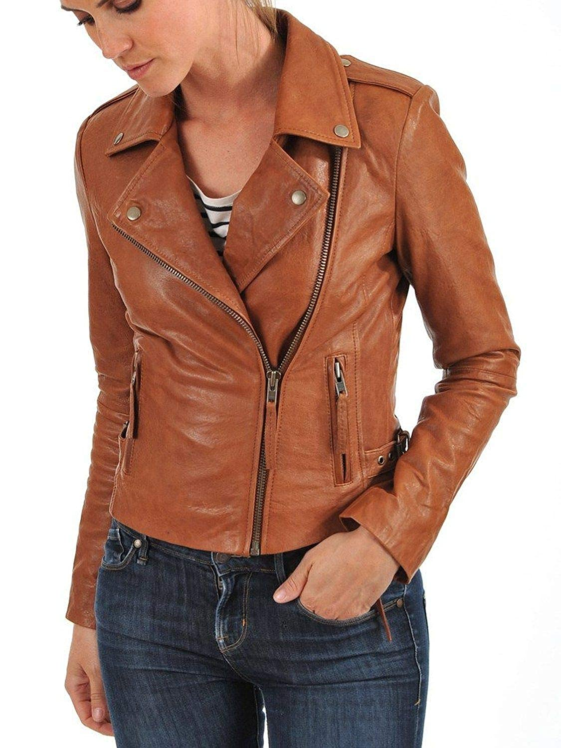 Brown101fc DOLLY LAMB 100% Leather Jacket for Women  Slim Fit & Quilted  Moto, Bomber, Biker Winter Casual Wear