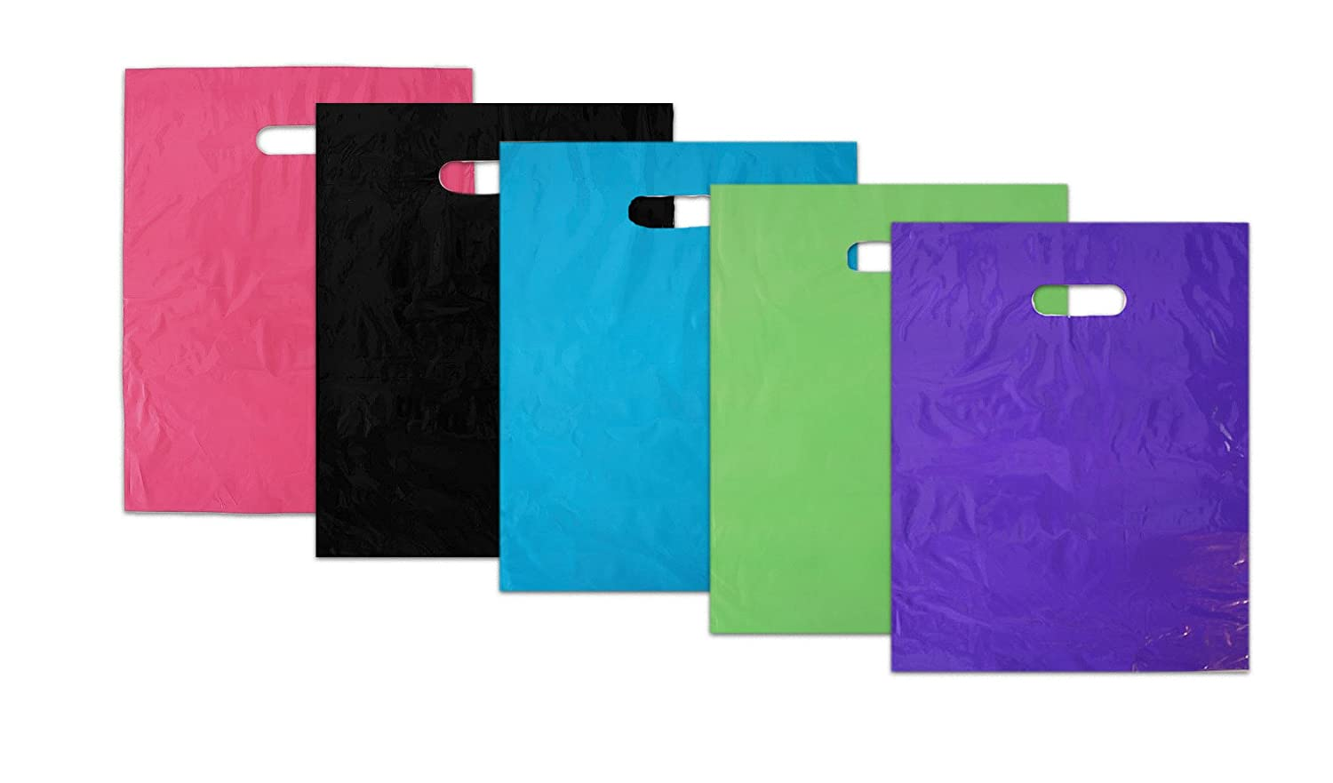 12x15 ~Glossy Pink|Purple|Blue|Lime Green|Black Combo Plastic Merchandise Bags 100pcs