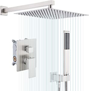 KES Shower System Shower Faucets Sets Complete 12 Inch Rain Shower Head with Handheld Spray Pressure Balance Shower Valve and Trim Kit Brushed Finish, XB6230S12-BN
