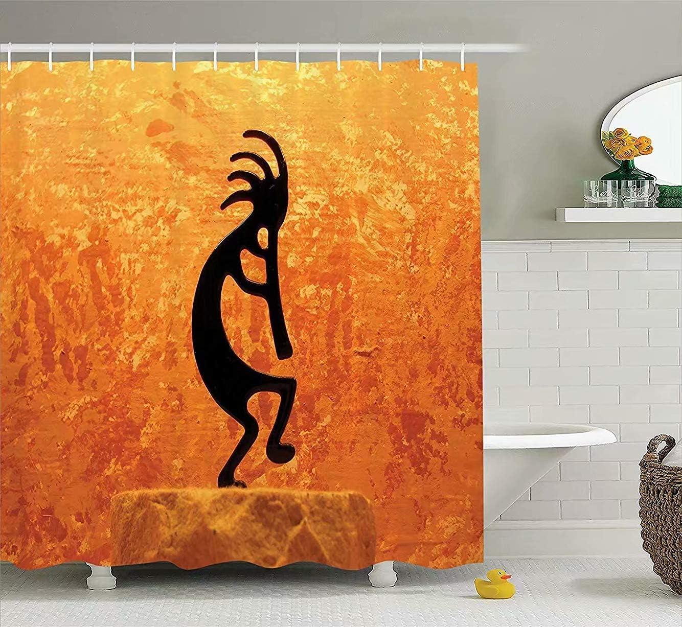 AshasdS Shower Curtains,Kokopelli Decor,Southwestern Style,Orange  Black,Shower Curtain Clear,Waterproof Fabric Bathroom Decor with Hooks,  Bathroom