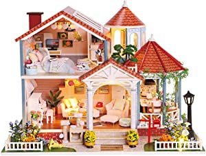 CUTEBEE Dollhouse Miniature with Furniture, DIY Wooden Dollhouse Kit Plus Dust Proof and Music Movement, 1:24 Scale Creative Room Idea(Coloured Glaze)