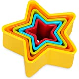 Internet's Best Star Cookie Cutter | Set of 5 | Star Shaped Biscuit Sandwich Fondant Cutter Set | Multi Size and Color | Kid Friendly