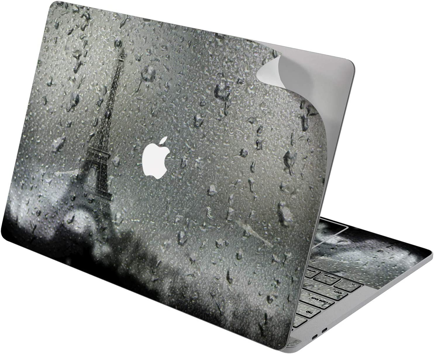 "Cavka Vinyl Decal Skin for Apple MacBook Pro 13"" 2019 15"" 2018 Air 13"" 2020 Retina 2015 Mac 11"" Mac 12"" Cover Paris Rainy Landmark Protective Print Laptop Sticker Raindrops Tower Eiffel Design Window"