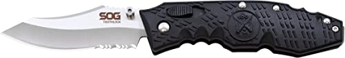 SOG Toothlock Folding Knife TK-02 – Partially Serrated Blade, Satin Polished, San Mai VG-10, 3.1 Blade