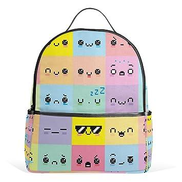 COOSUN Emoji diferente de píxeles de dibujos animados Caras mochilas escolares mochilas para Niños Niñas Adolescentes Niños Medio Multi # 1: Amazon.es: ...