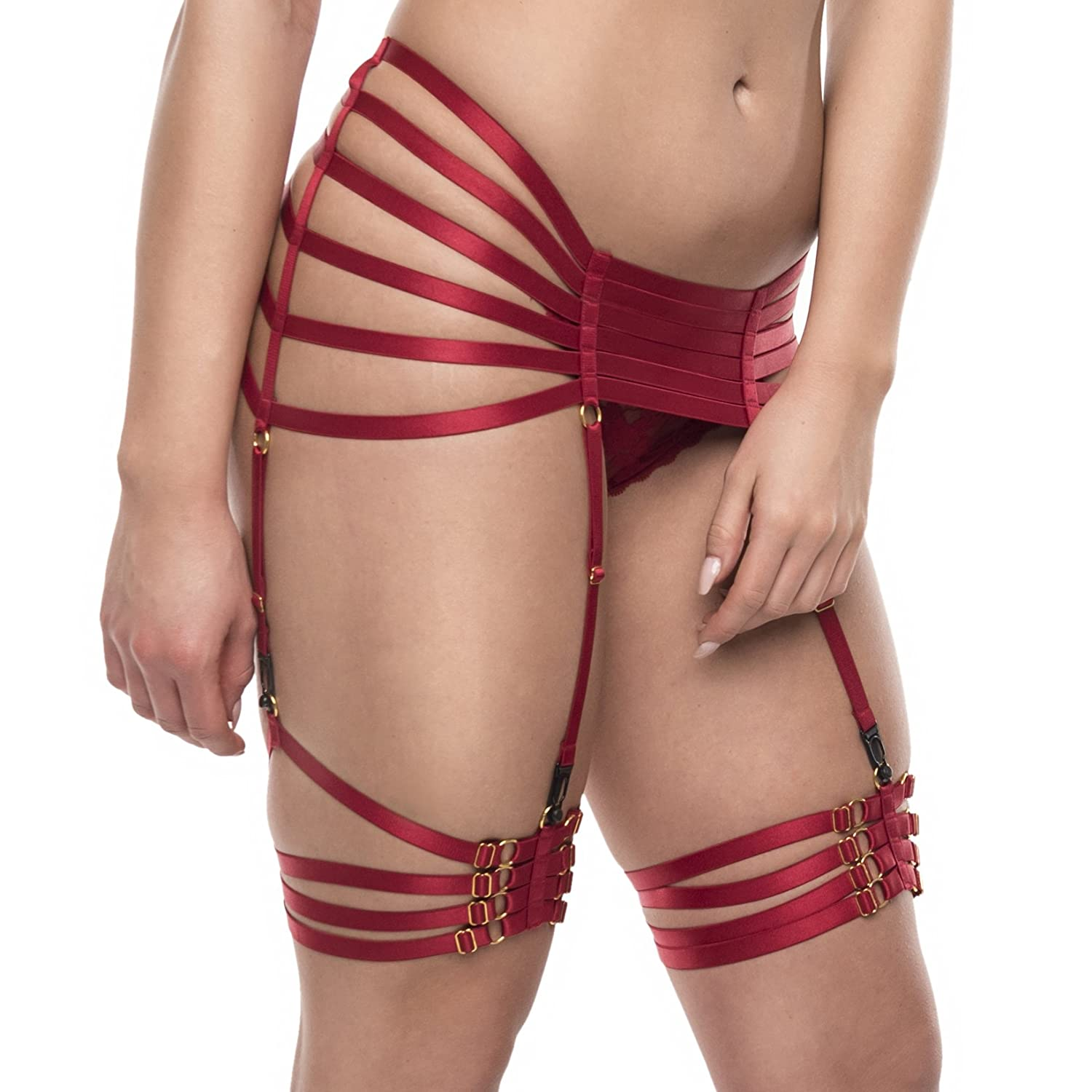 BBOHSS Women Red Strappy Harness Garter Belts Leg Caged Body Harness Goth Punk