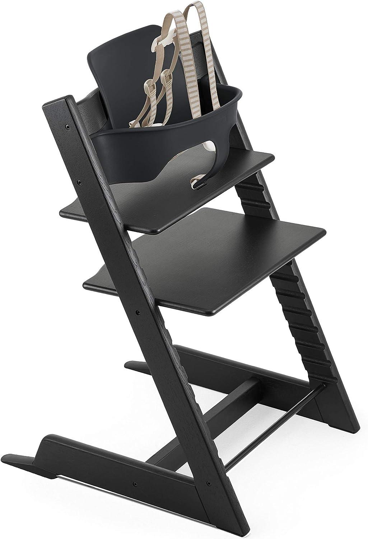 Stokke Tripp Trapp Oak High Chair with Baby Set Black Oak