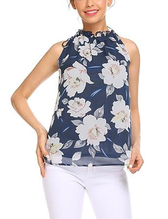 58269f98b43603 Pinspark Women Summer Sleeveless Chiffon Blouse Flowy High Neck Ruffle Tank  Tops (Blue