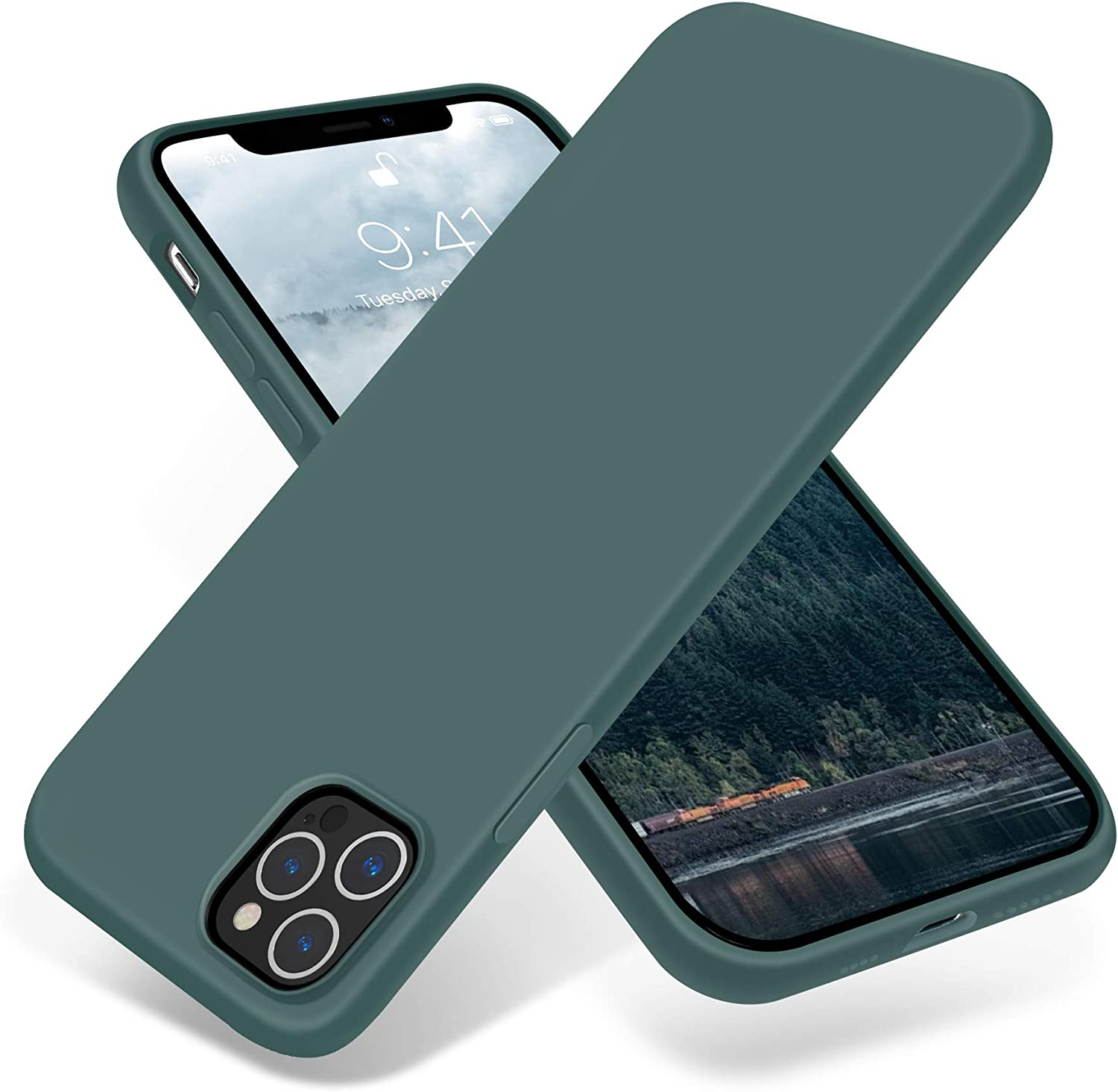 JELE Compatible with iPhone 12 Pro Max Case 6.7 inch(2020),Premium Soft Liquid Silicone Rubber Full-Body Protective Anti-Scratch Shockproof Bumper Case Pine Green